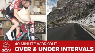 40 Minute Over / Under FTP Interval Training Cycling Workout - Climb The Passo Gardena