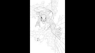 Inking Spider-Man cover
