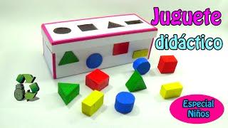 174. Manualidades: Juguete didáctico con figuras geométricas (Reciclaje de cartón)Ecobrisa