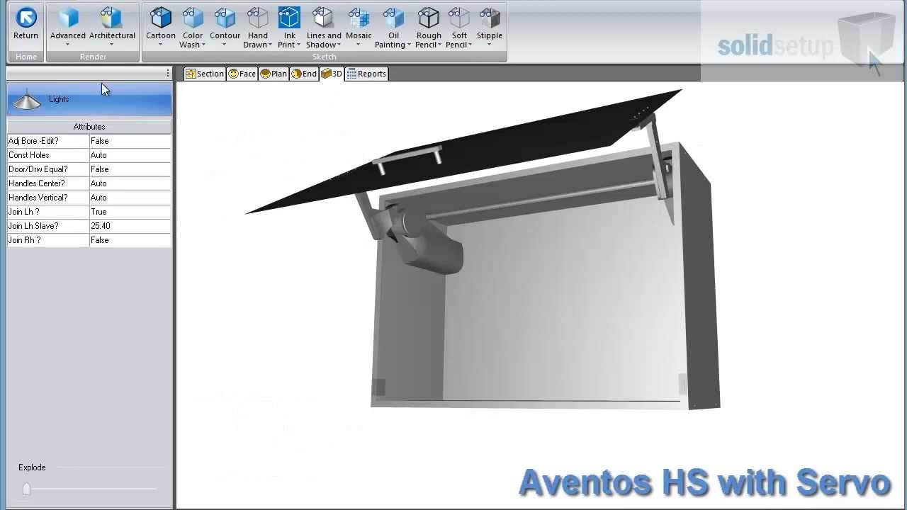 Blum Aventos HS with Servo for Cabinet Vision by solidsetup com