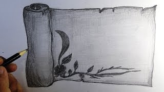 How to draw a scroll with a creative border step by step with narration | pencil drawing