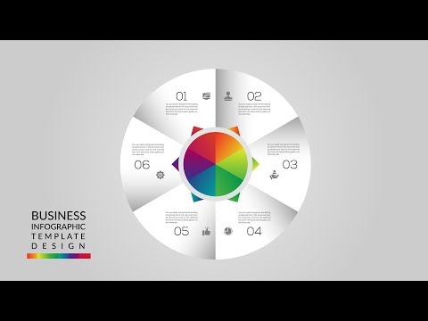 business infographic design concept with 6 options   illustrator tutorial