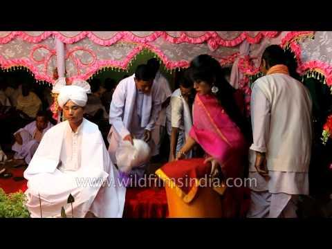 Bride and groom at mandap - Manipuri wedding