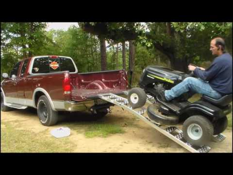 how to load mower on ramps