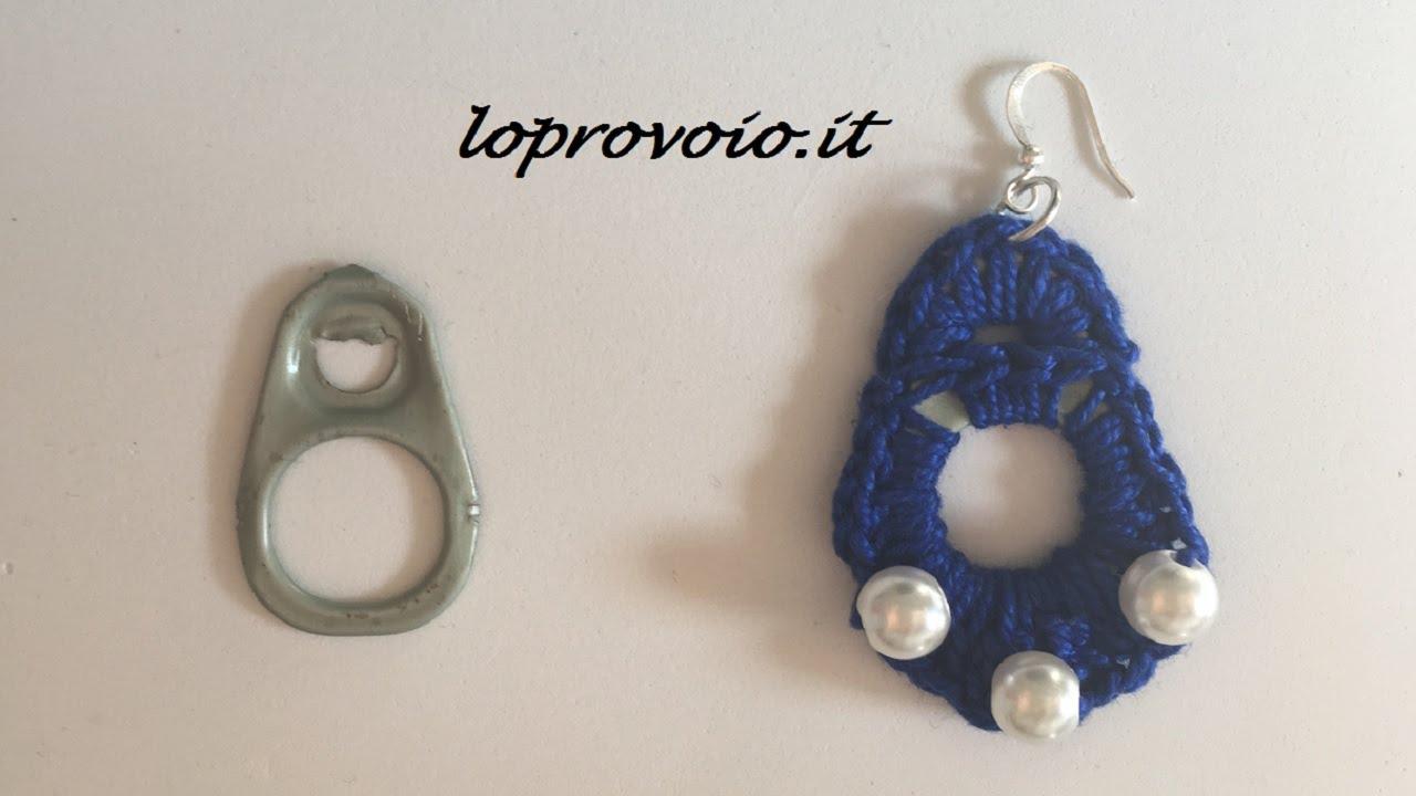 Orecchini Alluncinetto Riciclo Creativo Linguette Di Metallo