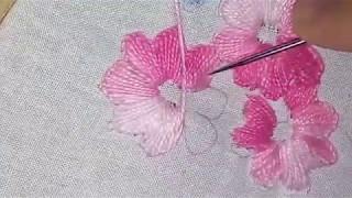 Bordado a mão Ponto Caseado com linha mesclada  – finalização de Flores