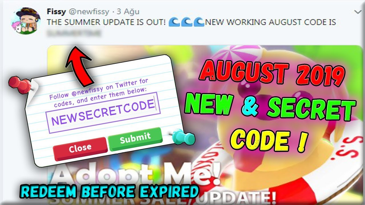 Adopt Me New Code August 2019 Roblox Youtube