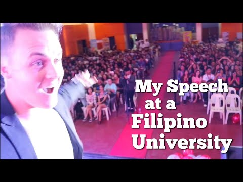 Dwaine gives a speech at PUP! (Polytechnic University of the Philippines)