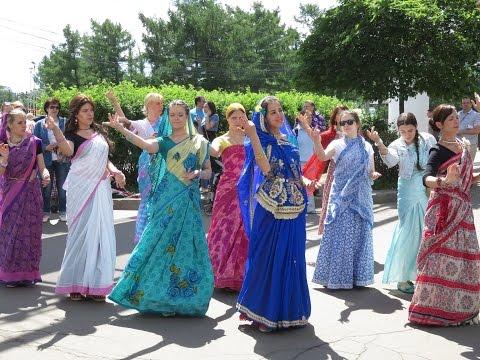 Hare Krishna devotees near vdnkh park, Moscow, Russia