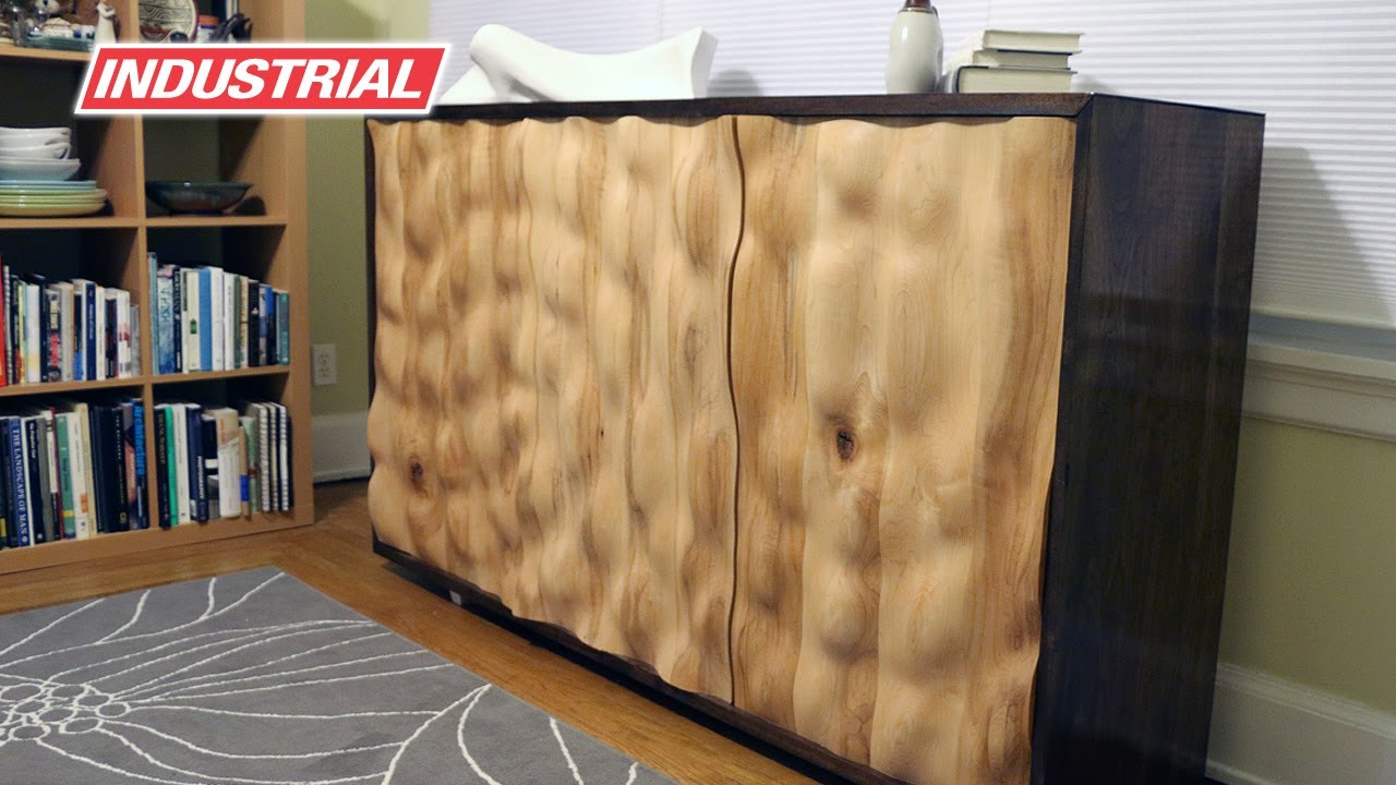 Cnc Project Wooden Cabinet With Water Effect Doors
