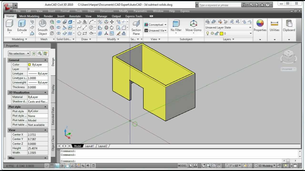 Autocad subtracting solid objects
