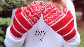 DIY WINTER MITTENS FROM SWEATER UPCYCLE