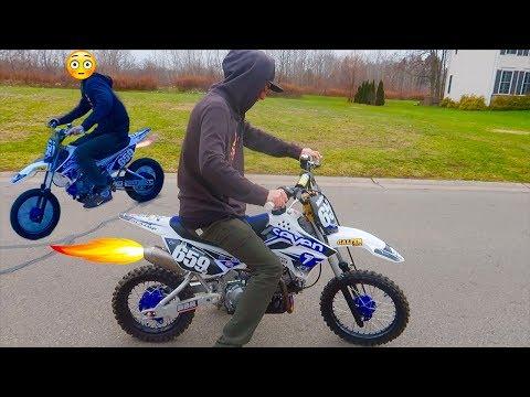 IT SHOOTS FLAMES!!! MOD PIT BIKE PROBLEMS