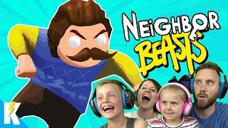 Hello Neighbor in Gang Beasts! (Family Battle Part 3) K-City GAMING