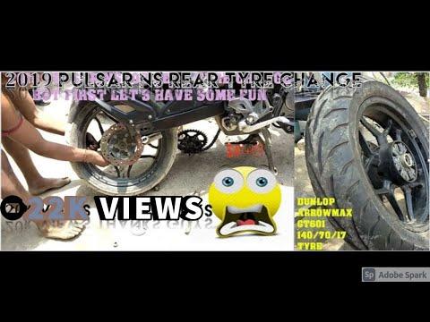 Pulsar NS200 2019 Rear Tyre Change 140/70/17    Dunlop Arrowmax 140/70/17 Tyre Change Cost Maintain