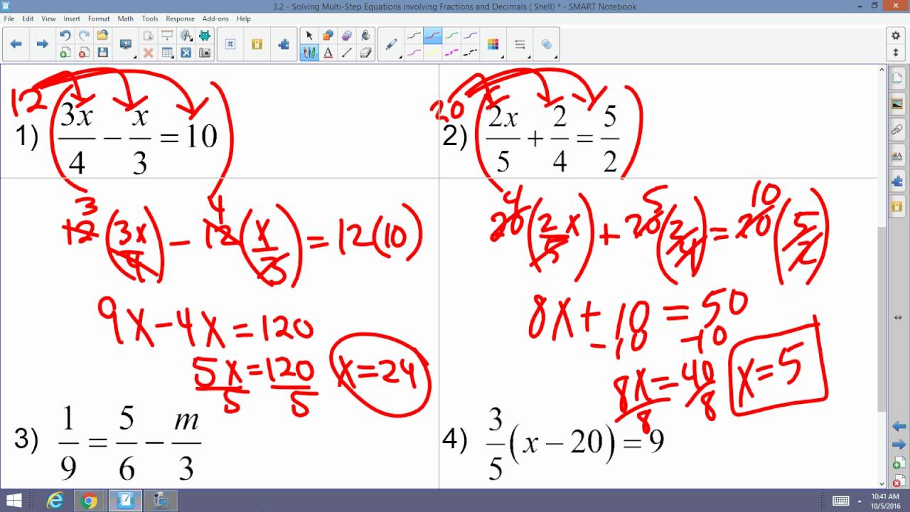 worksheet Multi Step Equations With Fractions algebra 2 accelerated 3 solving multi step equations involving fractions and decimals