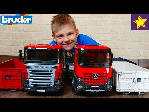 Машинки Контейнеровозы BRUDER Scania и Mercedes-Benz Распаковка игрушек Bruder Truck Toys