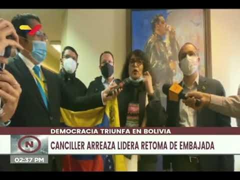 Retoma de la embajada de Venezuela en Bolivia por el canciller Jorge Arreaza, 9 noviembre 2020