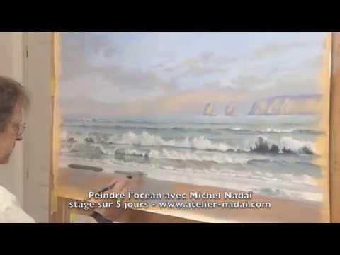 how to paint a seascape extracts comment peindre la mer l 39 oc an et les vagues youtube. Black Bedroom Furniture Sets. Home Design Ideas