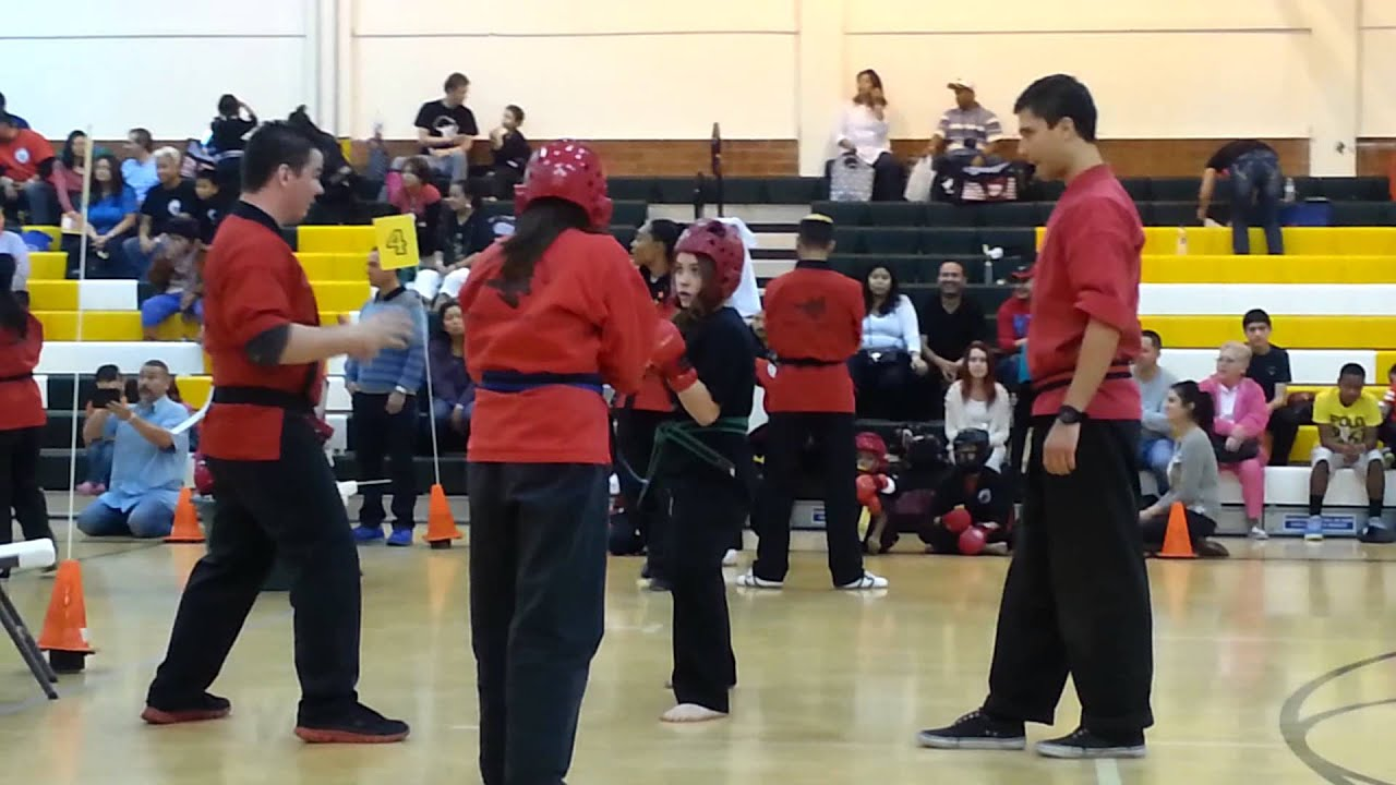 Ashley sparring karate tournament young champions. - YouTube