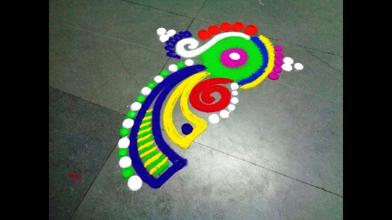 small easy fancy beautiful rangoli design YouTube