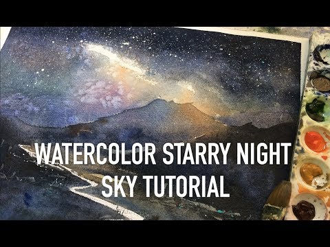 Watercolor starry night sky tutorial for beginners