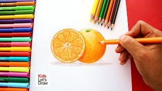 Cómo dibujar una NARANJA de manera fácil (paso a paso) | How to Draw an Orange easy!