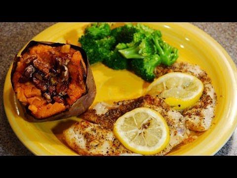 Sunday Dinner: Baked Herbal Lemon Pepper Tilapia , Steamed Broccoli And Sweet Potato W/Glazed Pecan
