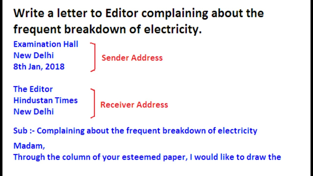 Letter to editor complaining for electricity breakdown or shortage