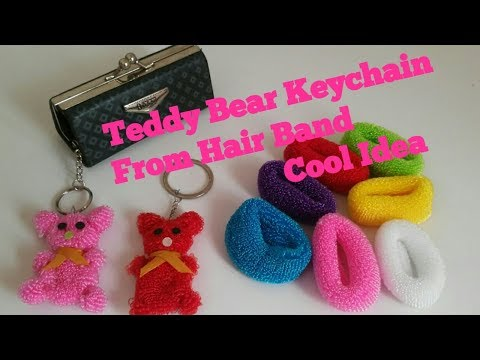 Teddy Bear Keychain From Hair Band   Best Out Of Waste /cool Craft Idea #hairbanddollmaking