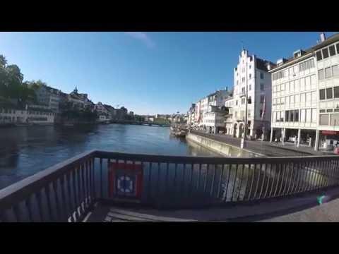 STREET VIEW: Zürich in SWITZERLAND - Von der Quaibrücke bis zum Marriott Hotel