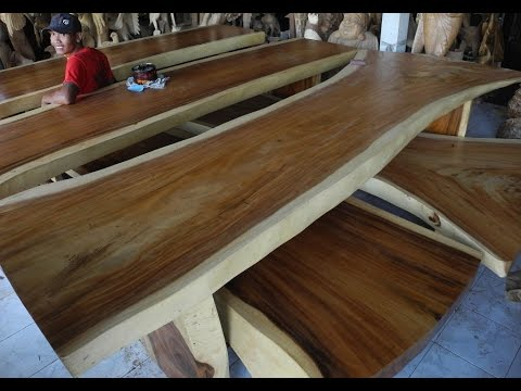 Slab Dining Room Furniture | Solid Wood Dining Table Slabs - YouTube