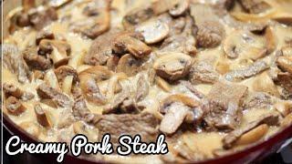 PORK STEAK RECIPE  How to cook Creamy Pork Steak  Best Creamy Pork Steak  Hanzy TV