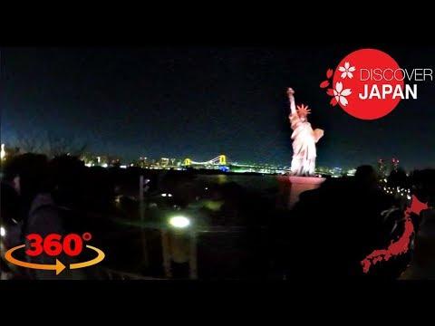 Night Walk - Statue of Liberty in Odaiba Tokyo - 360 VR Full HD Video