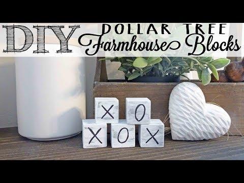 DIY Farmhouse Blocks  Dollar Tree Hack