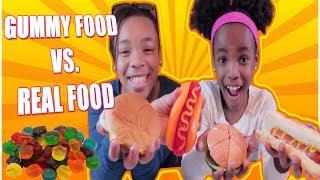 GUMMY FOOD VS. REAL FOOD CHALLENGE!!