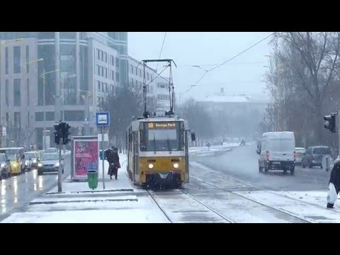 Budapest BKK No.18 Tram in the Snow 06 January 2016 Hungary