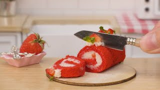 Sweet Miniature Strawberry Roll Cake Recipe   Perfect Miniature Fruit Cake Decorating For Summer