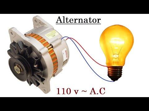 110 v AC from a 12 v Car Alternator   New idea !