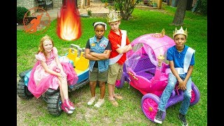 High Top Princess 2 - Prince vs Princess, The Kids Car Race & Friendship Teamwork Lessons
