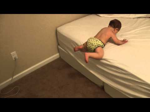 8 month baby gets off the bed by herself