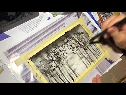 Learn to paint trees with Chinese ink, asmr