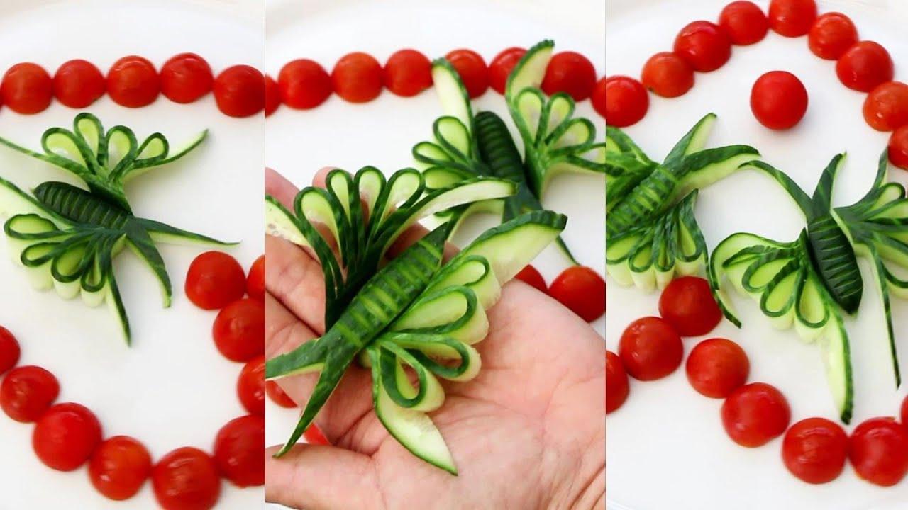 Super Cucumber Decoration Ideas - Cucumber Carving Garnish
