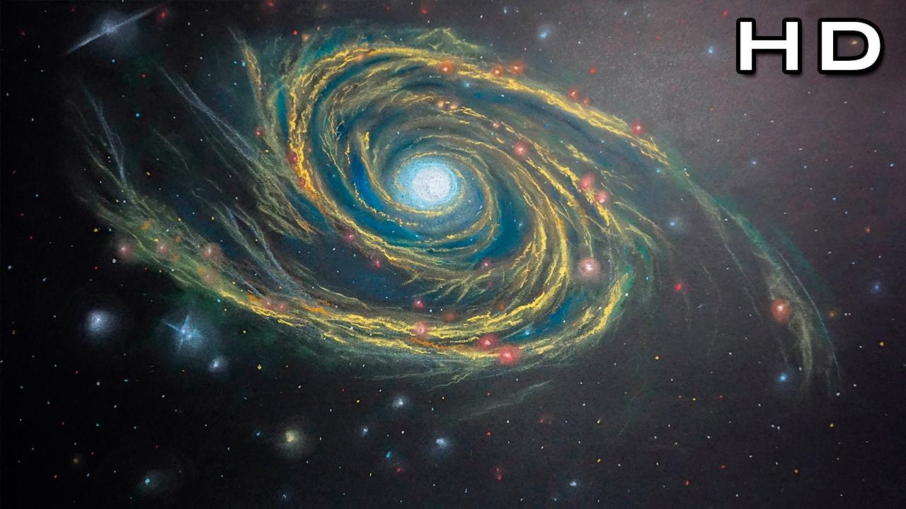 Hermoso Dibujo De Una Galaxia Espiral Con Pasteles Dibujando El Universo