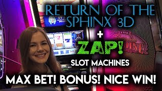 Trying ZAP! For the first time! Max Bet got the 7X Multiplier! Great WIN on Sphinx 3D Slot Machine!