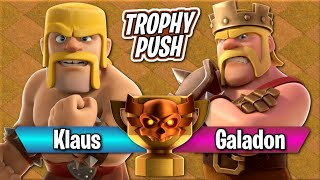 WHO IS THE TROPHY KING!? Klaus vs Galadon TH10 Let's Play | Clash of Clans