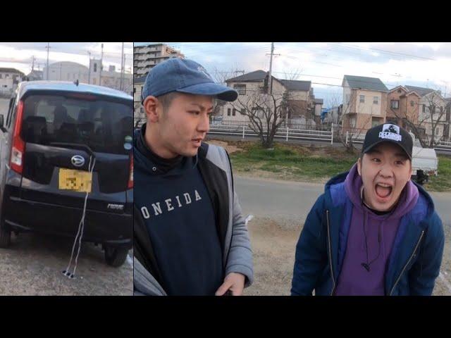 友達のiPhoneを車に紐で縛って道を走ってみた【ドッキリ】