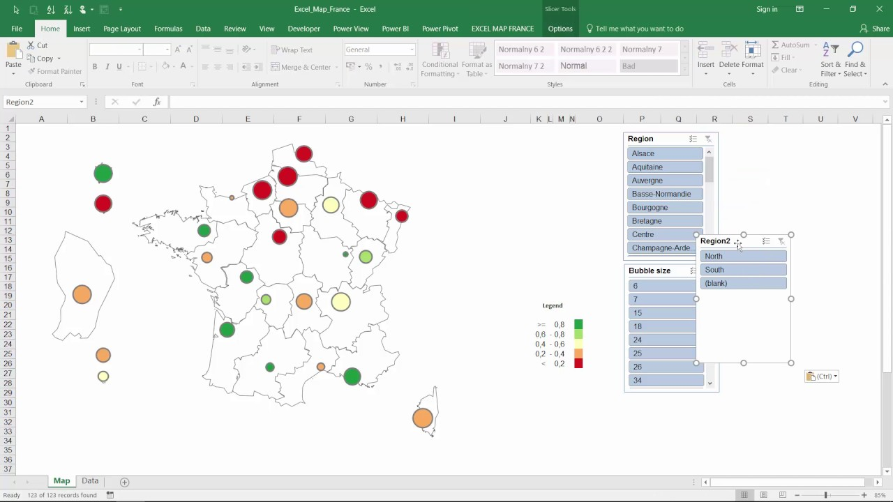 How to filter the bubble chart on excel map france also youtube rh