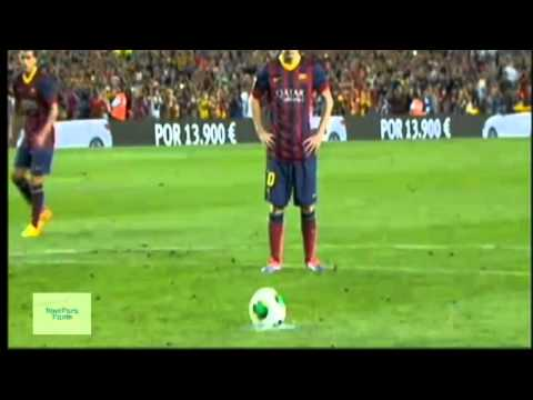 Messi miss penalty shot FC Barcelona-Atletico Madrid 0-0 28.8.2013