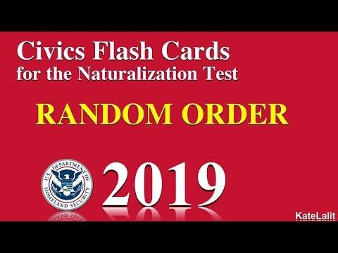 US Citizenship/Naturalization Test Questions in Random Order 2019-20 (All 100 Qu